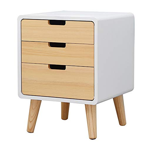 LSX-Bedside Table Bedside Table, Creative Modern Three-Story Drawer Bedroom Small Storage Storage Cabinet, Suitable for Living Room/Bedroom/Study, 3 Colors Available OYO (Color : Wood Color)