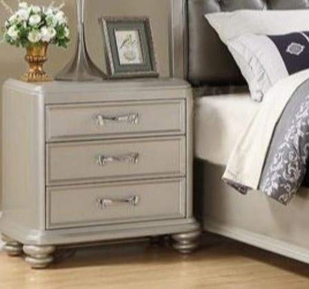 Nightstand, Bedstand - Silver Wood with Three Drawers - Add Charm to Your Bedroom Or Guestroom