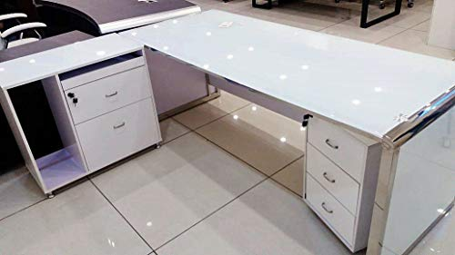 MG Decor MG Décor Office Table with Glass and Side Drawers - A Limited Edition from Madhu's Collection, White