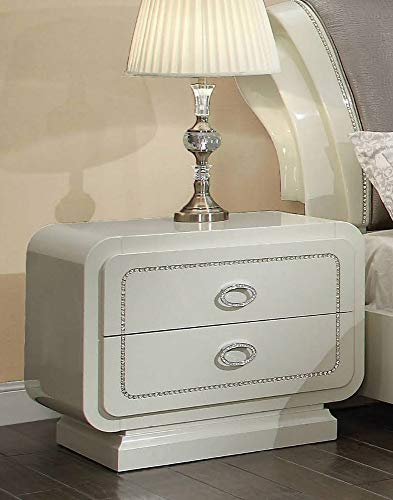 Acme Furniture Nightstand in Ivory High Gloss