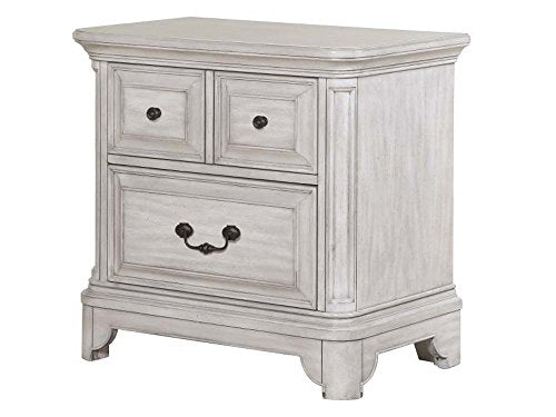 Magnussen Drawer Nightstand in Weathered White Finish