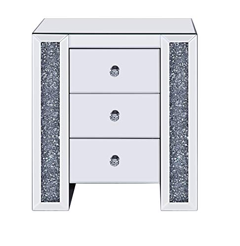 Benjara BM196004 Wood and Mirror Nightstand with Three Drawers, Clear