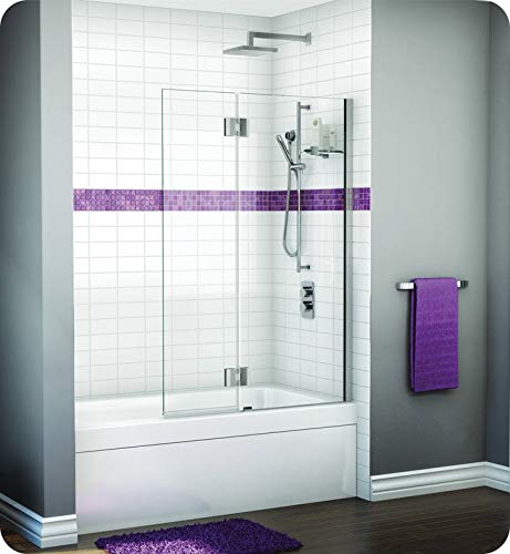 "VWGSH24-11-40R-T Fleurco Evolution Monaco Square Top Tub Shield with Fixed Panel with Glass Shelf Support, Door: 15"" W 