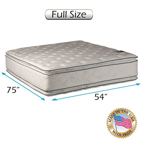 "Serenity PillowTop Mattress Only - (Full 54""x75""x12"") Medium Soft Double-Sided Sleep System with Enhanced Cushion Support- Fully Assembled, Back Support, Longlasting by Dream Solutions USA"