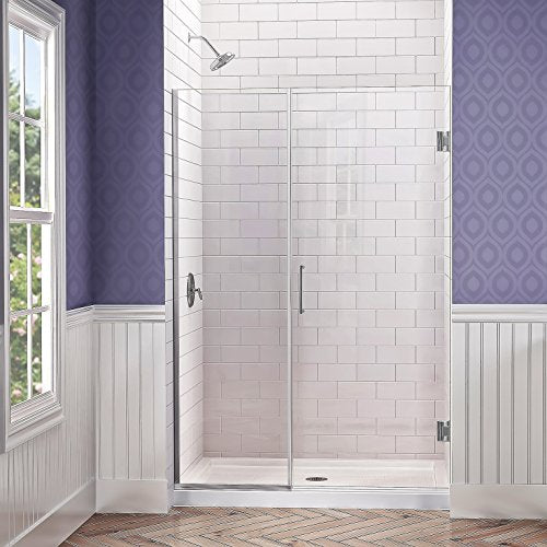 DreamLine Unidoor Plus 29 1/2-30 in. W x 72 in. H Frameless Hinged Shower Door, Clear Glass, Chrome, SHDR-242957210-01
