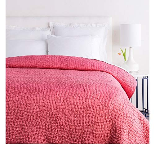 1 Piece King Textured Comfortable Bed Cotton Silk Quilt, Modern Contemporary Stylish Pattern Reversible Bedding, Casual Hand Quilting Solid Color Durable Warm Luxury Baby Pink Quilt Great Bedspread