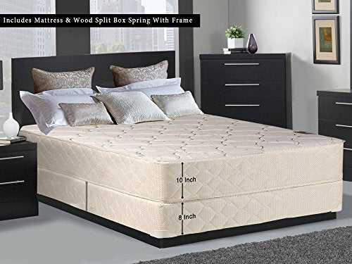 "Mattress Solution, 10-Inch Fully Assembled Medium Plush Tight Top Innerspring Mattress and 8"" Split Box Spring/Foundation Set With Frame, Twin XL Size, White & LT Brown"