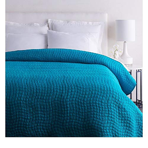 1 Piece Full - Queen Textured Comfortable Bed Cotton Silk Quilt, Modern Stylish Pattern Reversible Bedding, Casual Hand Quilting Solid Color Durable Warm Luxury Blue Quilt Looks Great Bedspread