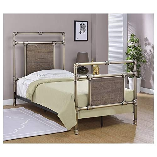 Glenwillow Home 1450025 Platform Bed, Twin, Antique Brass