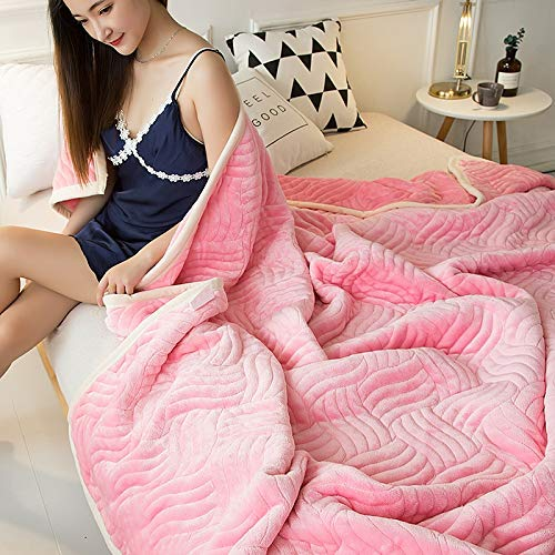Lihin Easy Care Blanket Simple Modern Casual Composite Blanket Towel Quilt Single Double Towel Blanket Winter Blanket line Blanket Sheet Thick (Color : Pink, Size : 200x230cm)