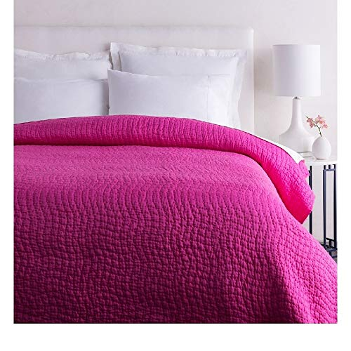 1 Piece Twin Textured Comfortable Bed Cotton Silk Quilt, Modern Contemporary Stylish Pattern Reversible Bedding, Casual Hand Quilting Solid Color Durable Warm Luxury Hot Pink Quilt Great Bedspread