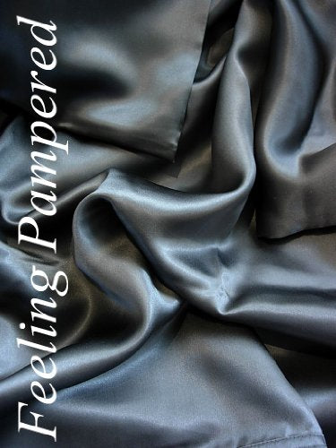 4 Pcs Luxurious 100% Mulberry Silk Charmeuse Sheet Set King Dark Gray Half of Retail!