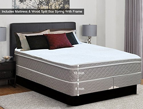 "Mattress Solution, 10 Medium Plush Eurotop Pillowtop Innerspring Mattress and 8-Inch Split Wood Treditional Box Spring/Foundation Set with Frame, No Assembly Required, Good for Back, 48"" X 74"", Size"