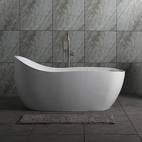 "WOODBRIDGE Deluxe Air Bubble 67"" Acrylic Freestanding Bathtub Contemporary Soaking Tub with Chrome Overflow and Drain, B-0033 / BTS1610"