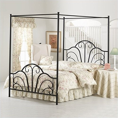 Bowery Hill King Metal Canopy Bed in Black