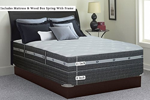 Mattress Solution 11-inch Firm Innerspring Pillowtop Mattress and Box Spring/Foundation Set with Frame, No Assembly Required, Twin XL Size,