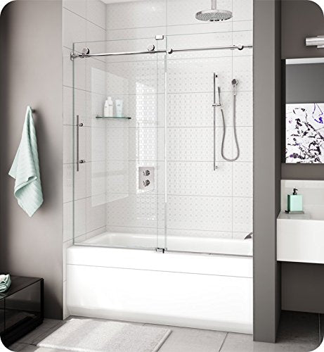 Fleurco Kinetik K2 Tub Door and Panel With Hardware Finish: Brushed Stainless, Glass Type: Clear Glass, Door Direction: Right, K2057-35-40R