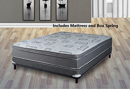 Mattress Solution 444y-4/6XL-2LP 10 Euro Pillow top Fully Assembled Orthopedic Mattress and 4-inch Box Spring/Foundation Set, Trophy Collection, Full XL Size,
