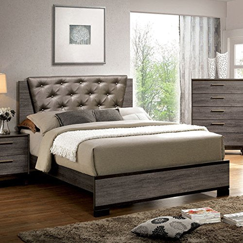 24/7 Shop at Home 247SHOPATHOME IDF-7867Q Bed-Frames, Queen, Gray