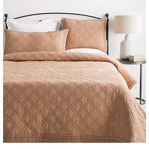 1 Piece Transitional Camel Brown Quilt Set Inviting Diamond Stitched Embroidery Pattern Two Tone Design Embroidered Quilts Queen Size Stylish Detailed Well Crafted Linen Cozy Luxury Modern Bedding Set