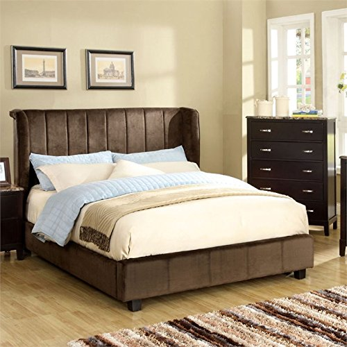 Furniture of America Trichtone Padded Twin Bed in Dark Brown