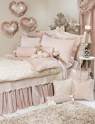 Paris Twin Duvet Cover Girls Bedding by Glenna Jean Cream/Pink Tufted