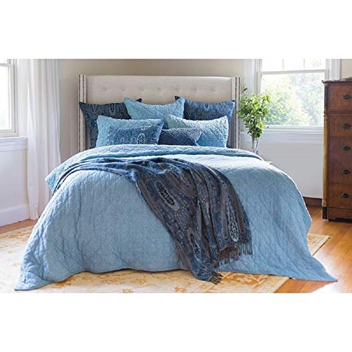 1 Piece Modern Handmade Ocean Blue Quilt, Solid Color Complete Stitched Diamond Pattern Glamour King Bed Set, Contemporary Style Designer All Seasons Printed Simple Details Soft Comfort Bedroom Decor