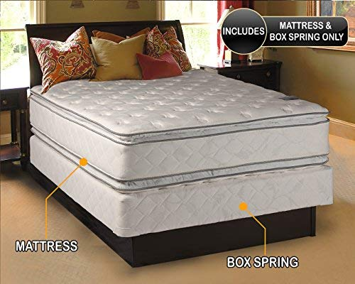 Natural Dream - (Queen Size) Medium Soft PillowTop Mattress and Box Spring Set Double-Sided Sleep System with Enhanced Cushion Support-Fully Assembled, Back Support, Longlasting by Dream Solutions USA