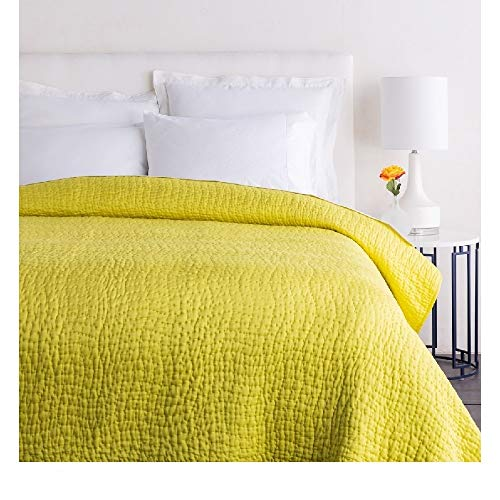 1 Piece Twin Textured Comfortable Bed Cotton Silk Quilt, Modern Contemporary Stylish Pattern Reversible Bedding, Casual Hand Quilting Solid Color Durable Warm Luxury Yellow Quilt Looks Great Bedspread