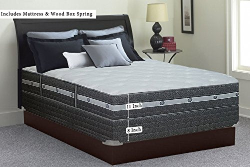 "Mattress Solution, 12-Inch Medium Firm Foam Encased Eurotop Pillowtop Pocketed Coil Innerspring Mattress And Wood Traditional Box Spring/Foundation Set, Spring Air Collection, Full Size 74"" x 53"""