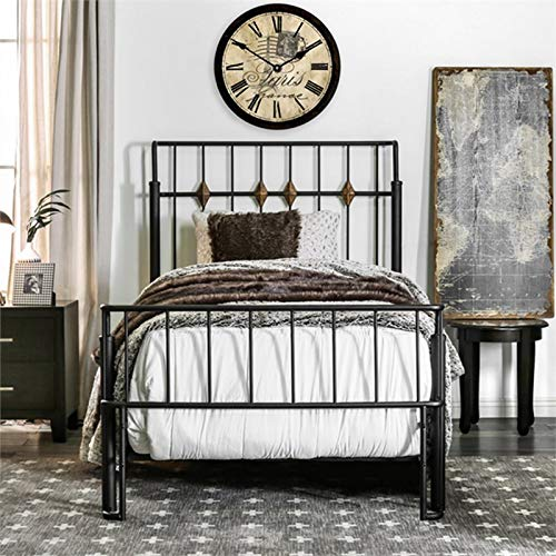 Furniture of America Domio Twin Metal Spindle Bed in Sand Black