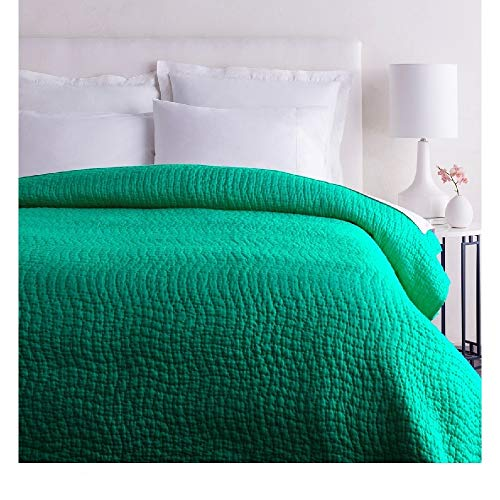 1 Piece King Textured Comfortable Bed Cotton Silk Quilt, Modern Contemporary Stylish Pattern Reversible Bedding, Casual Hand Quilting Solid Color Durable Warm Luxury Green Quilt Looks Great Bedspread