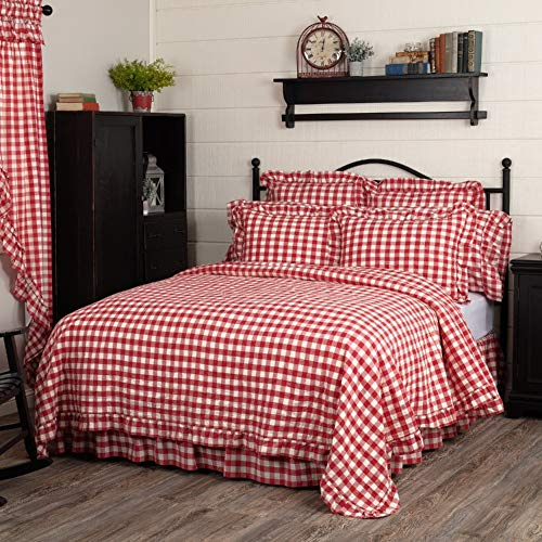 1 Piece California King All Seasons Buffalo Check Coverlet Soft Cotton Quilt, Farmhouse Country Style Red White Bedding Set, Fresh Stylish Look Squared Shaped Themed Gorgeous Bed Set Soft Cozy Quilt