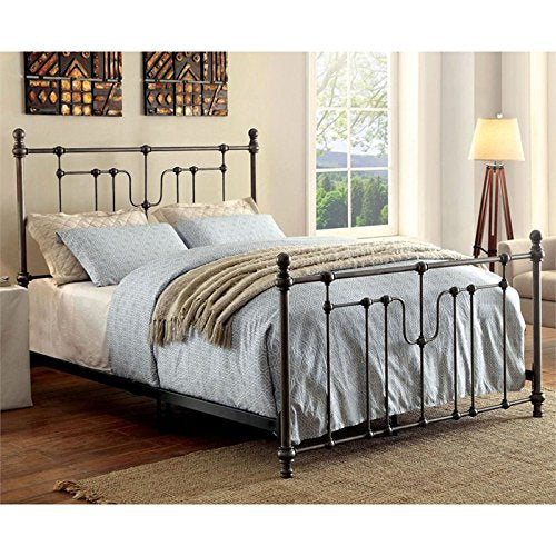 Furniture of America Ivy California King Metal Spindle Bed in Black