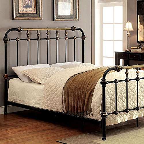 Riana Contemporary Metal Full Size Bed, Black Finish