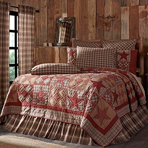 1 Piece Rustic Khaki Red Quilt Set Elegant Cabin Lodge Hand Quilted Patchwork Blocks Star Quilt Pattern Khaki Burgundy Brown Hues Reversible Cotton Lake House All Season Use King Decor Plaid Bedding