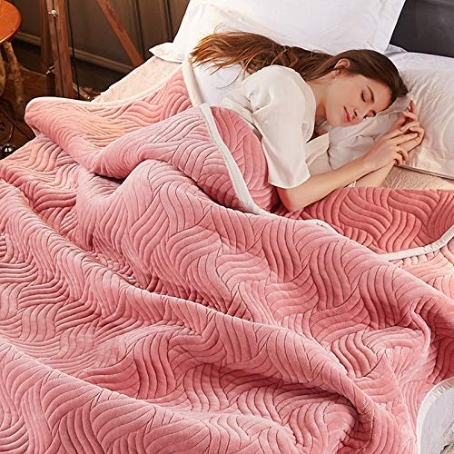 Lihin Easy Care Blanket Blanket Thick Coral Fleece Blanket nap Blanket Single Double Blanket air Conditioning Blanket Summer Sofa Blanket Quilt Towel (Color : Pink, Size : 200x230cm)