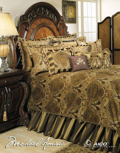 Michael Amini Pontevedra 13 pc King Comforter Set in Olive by AICO by Amini