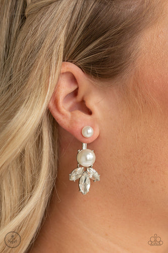 Paparazzi Jacket Earring - Extra Elite - White