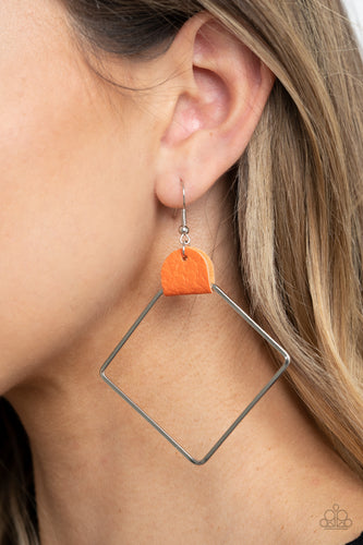 Paparazzi Earring - Friends of a LEATHER - Orange - New Release