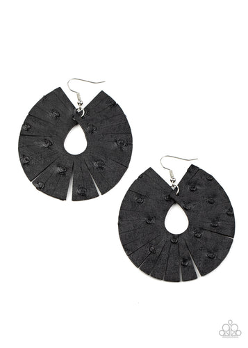 Paparazzi Earring - Palm Islands - Black - New Release