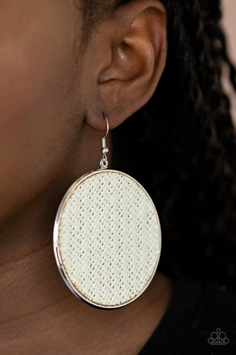 Paparazzi Earring - Wonderfully Woven - White