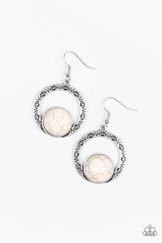 Paparazzi Earrings - Mesa Mood - White