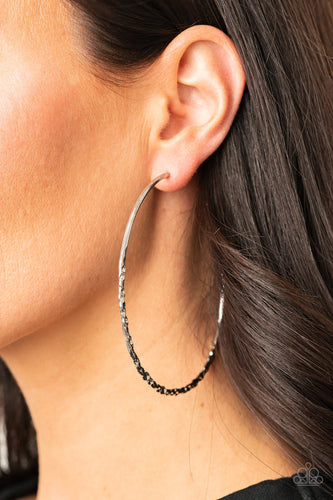 Paparazzi Earring - Embellished Edge - Silver - New Release