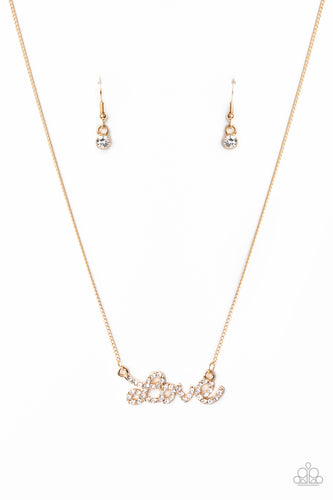 Paparazzi Necklace - Head Over Heels In Love - Gold - New Releases