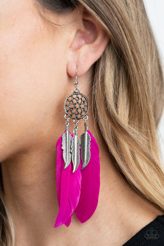 In Your Wildest DREAM-CATCHERS - Pink - Paparazzi Earring - New Release