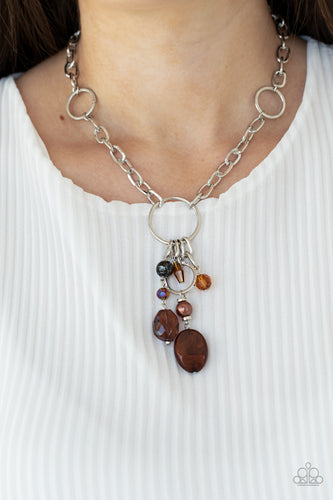 Paparazzi Necklace - Lay Down Your CHARMS - Brown - New Release