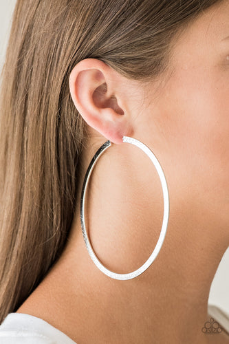 Paparazzi Earrings  - Size Them Up - Silver