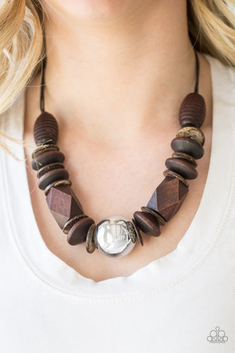 Paparazzi wooden necklace - Grand Turks Getaway - Brown