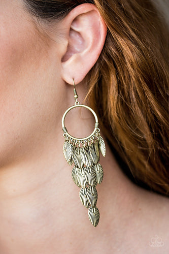 Paparazzi Earrings - Feather Frenzy - Brass